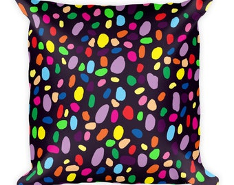 Rainbow Confetti Square Pillow