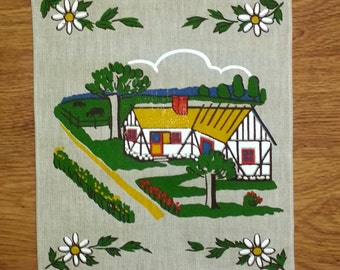 Scandinavia wall hanging signed HK, and handprinted in linen with motif from south part of  Sweden 1970s.