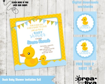 Duck Baby Shower party Invitation (invitation Baby Shower Ducky boy rubber) DIY printable-FREE Tags