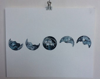 Moon Phases blue and silver