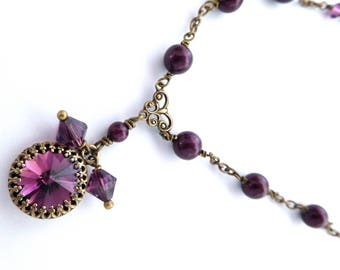 Berry pearl crystal pendant necklace, all Austrian crystal bezel set purple rhinestone, antiqued brass chain, wine pearl beaded jewelry
