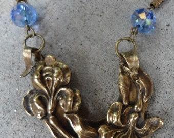 Vintage Art Nouveau Iris Necklace  Unique One of a Kind Treasure