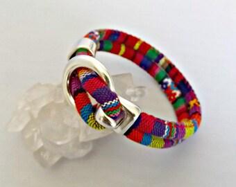 Fabric bracelet, boho bracelet, cotton bracelet, ethnic bracelet, mens bracelet, hook bracelet, gift for him, handmade jewelry, bracelet
