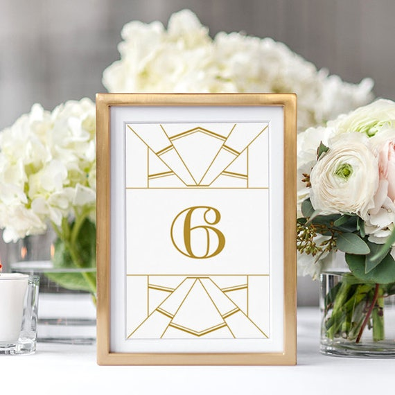 Art Deco Table Numbers Gold Art Deco Table Number Printable