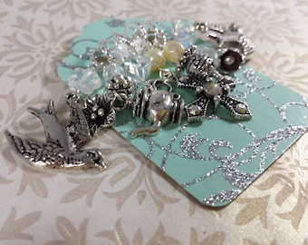 7 KNITTING Stitch Markers - Silver Victorian Charm Markers - Handmade Antiqued Silver Large Charms Stitch Markers - Birds Flowers and Tea