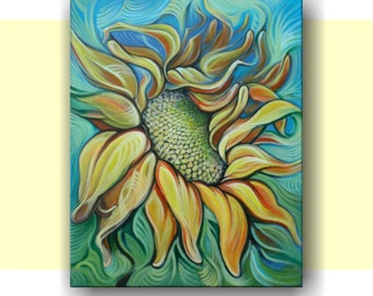 Sunflower, Original Acrylic Painting, Abstract Painting, Home Decor, Wall Art.