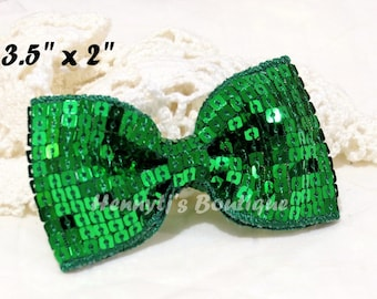 "Elsa Collection: 2 pcs Christmas GREEN 3.5"" inch Sequin Bow Knot Appliques. DIY Hair Accessories. Hair Bows."
