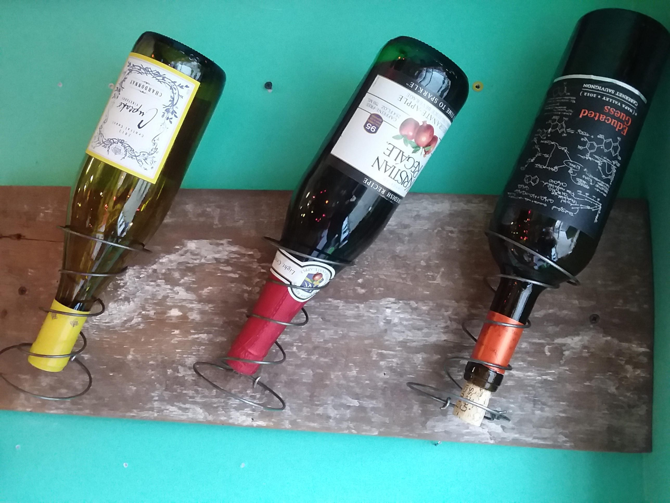 Gift! Reclaimed Barn Board and Bed Spring Wine Rack. Wine Bottle ...
