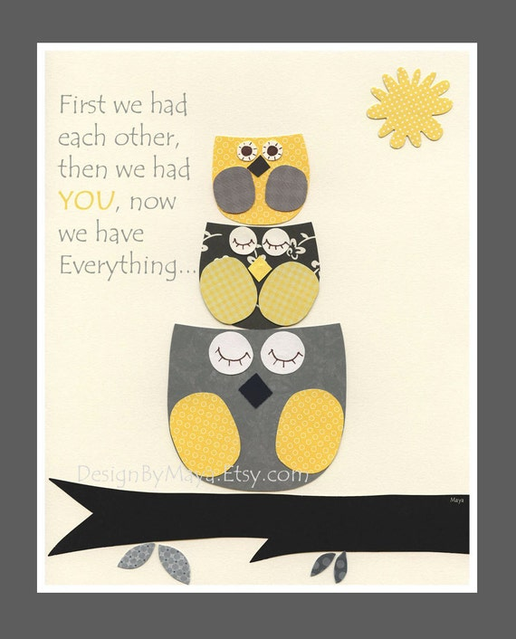 Kids Yellow and Gray Nursery Art Decor. Nursery Decor. Baby