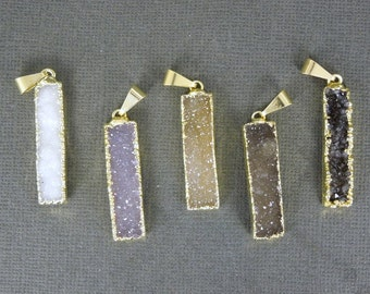 Druzy Druzzy Drusy Rectangle Bar Pendant with 24k Gold Electroplated Edge (S1B3-04)