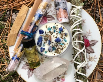 THIRD EYE - Handmade Smudge, Crystal Candle, Soak, Anointing Oil and Intention Vial Bundle - Signature BethKaya