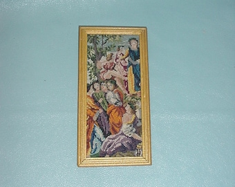 "Dollhouse Miniature 1:12 Framed Petitpoint Needlepoint Art ""The Ancient Greeks"" (#2)"