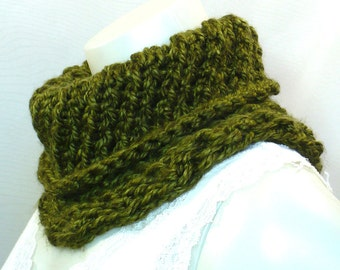 Hand Knit Green Cowl, Dried Herb Green Cowl, Soft Lacy Neckwarmer, Circle Scarf, Vegan Cowl,Handmade in the USA, Ready to Ship