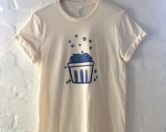 Blueberry Shirt, Gardening Gift, Food Shirt, Screen Printed T Shirt, Clothing Gift, Foodie Gift, Soft Style Tee
