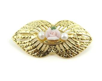 Vintage, Pink Rose Brooch, Faux Pearls, Gold Tone, STL35
