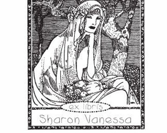 Bountiful Harvest Woman with Fruit Custom Ex Libris Rubber Stamp E16