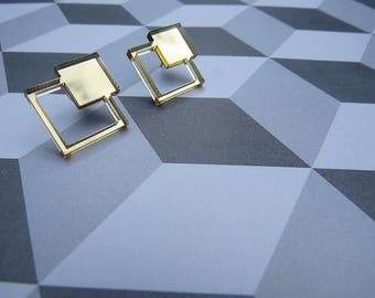 Squared Studs - Gold