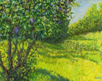 Lilac Bush Signed Print by Mark Reusch