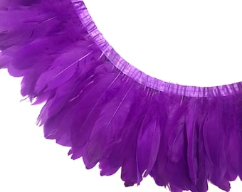 Feather Trim, 1 YARD - PURPLE Goose Nagoire and Satinettes Feather Trim   : 1235