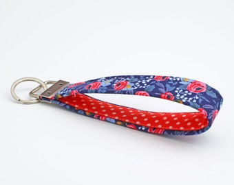 Floral Key Chain, Women's Key Fobs, Fabric Key Fob, Hands Free Key Holder, Cloth Key Wristlet - tiny pink blue flowers