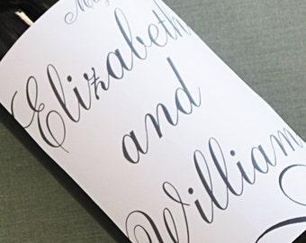 Wedding Wine label with pretty script