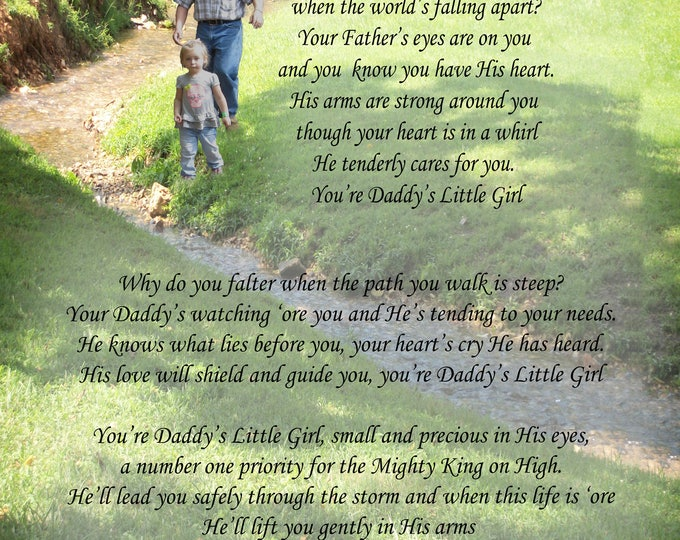 "Poem, ""Daddy's Little Girl"" an original poem on an original photograph"