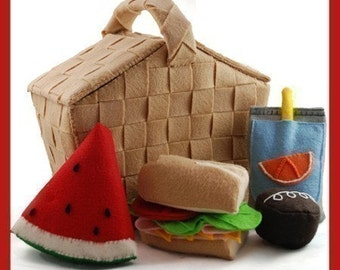 PERFECT PICNIC - PDF Felt Food Pattern (Basket, Hoagie Sandwich, Juice Pouch, Cupcake, Watermelon)