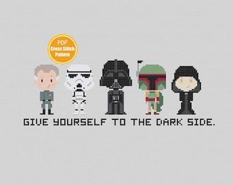 Star Wars Dark Side Cross stitch Pattern - Darth Vader - Boba Fett - Stormtrooper - Palpatine - Return of th Jedi - PDF Instant Download