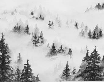 Foggy Forest Watercolor Original painting Artwork Misty mountains Watercolor landscape Black and white art Watercolor Art Home decor