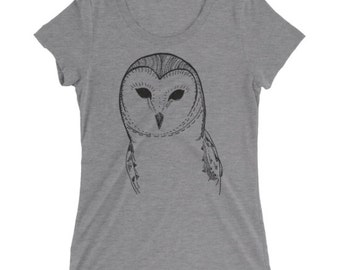 Owl Tshirt - Owl T Shirt - Barn Owl Tee - Graphic Tee For Women - Gift for Her - Ladies Tshirt - by Bloom Bloom Wear