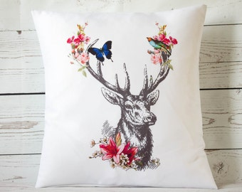 "Floral Deer - 16"" Cushion Pillow Cover Shabby Vintage Chic - UK Handmade"