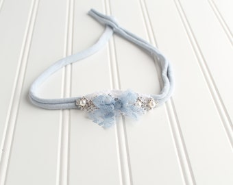 The Sky's The Limit - dainty style jersey knit tieback in beautiful light dusty sky blue and white with pearls and diamonds (RTS)