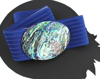 Mother of Pearl Buckle on Bright Blue Elastic Vintage Belt