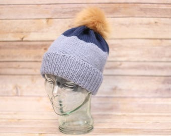 Handmade Colorblock Winter Hat with Faux Fur Pom Pom
