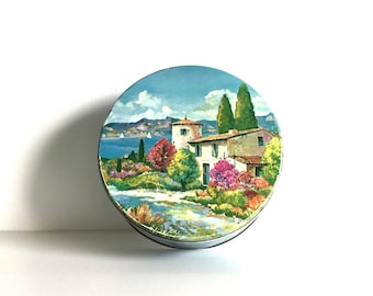 French Villa Landscape vintage lidded tin / decorative storage