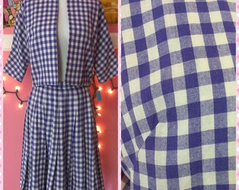 50s vintage blue gingham checkered 2 piece set pleated skirt suit bolero jacket