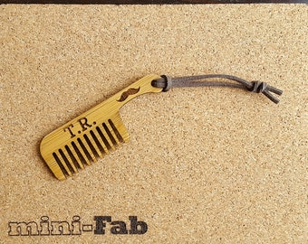 Wood Mustache Comb - Personalized Small Men's Grooming Pocket Accessory - Handmade Wood Gift - Boyfriend Gift - Gifts for Men - Gift for Him