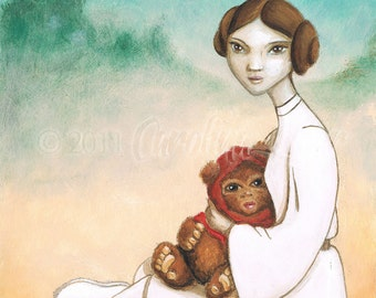 Art Print Princess Leia Ewok Star Wars Sci-fi fan art
