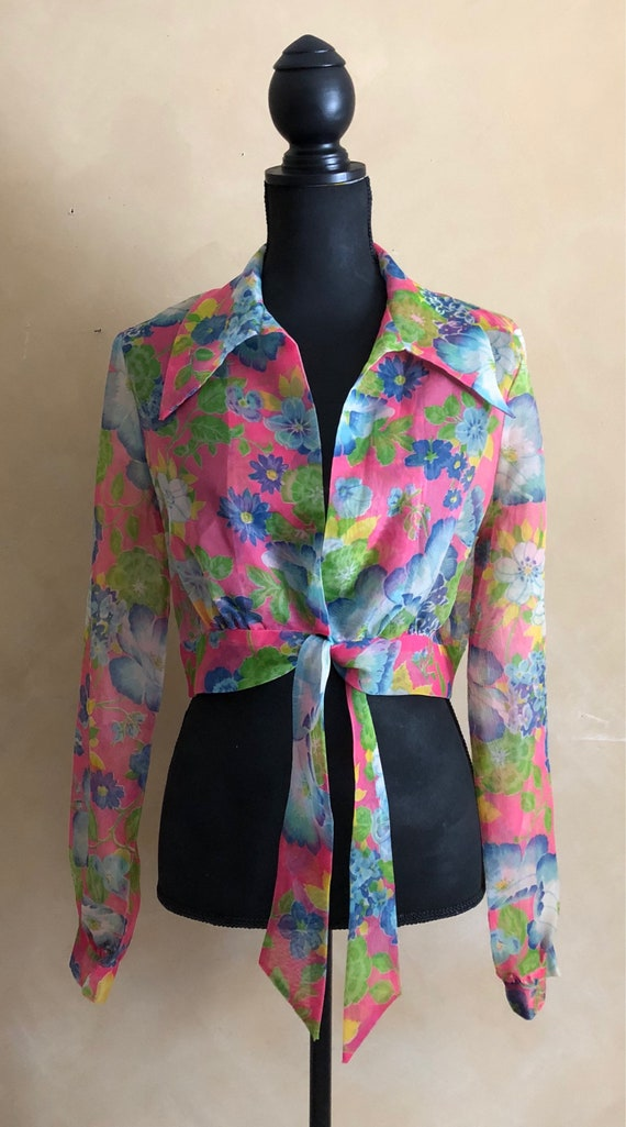 Vintage 70's Floral Sheer Crop Blouse with Tie waist