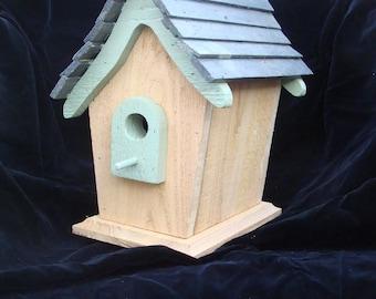 Green Trimmed Cedar Birdhouse