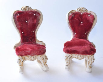 Ceramic Doll House Furniture Vintage Miniature Furniture Doll House Rocking Chairs