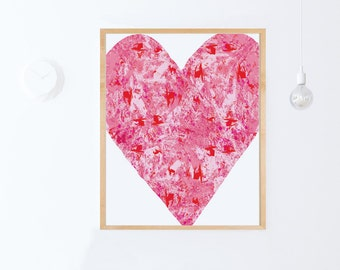 Heart Printable Art, Pink Heart Print, Pink Nursery, Girl Room Decoration, DIGITAL DOWNLOAD, Printable Nursery Art, Girl Nursery Art Print