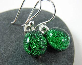 Fused Glass Earrings - Emerald Green - Green Glass Earrings