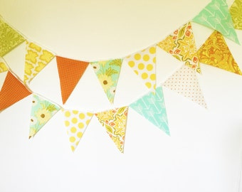 Vintage 70's Style Camper Bunting Banner, Fabric Garland, Orange, Yellow, Mint, Green, Arrows, Floral, Polka Dots, Wedding, Birthday Party
