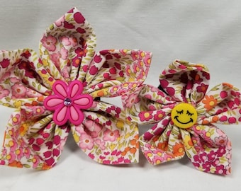 Pink Floral - Flower or Bow Tie