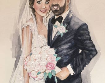 Wedding portrait, Custom illustration, Bespoke Wedding Portrait, Couple Portrait, Bridal Portrait, Anniversary gift