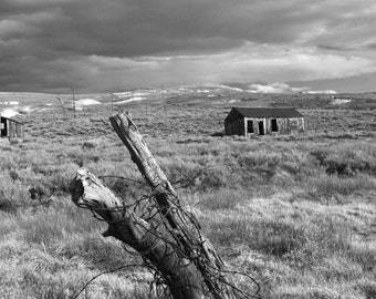 Eastern Sierra Mountains, Clouds, black and white, Bodie Ghost Town, old building, old west, mill, photography, picture, print, fine art