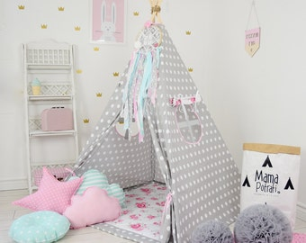 Dotted Teepee, Play Tent, Dotted Tent, Polka Dot Teepee, Polka Dot Tent, Floral Teepee,  Flower Tent, Children Teepee, Reading Lamp