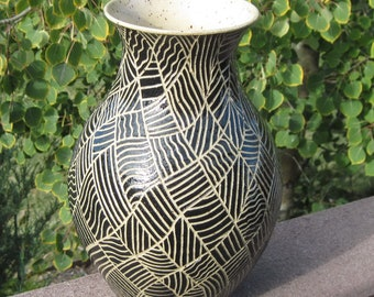Tall Vase in Black - Hand Carved Thinking Pot - See shop for more handmade pottery