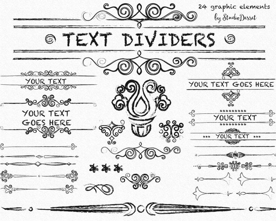 Text Dividers Clipart, Vintage Cliparts, Grunge Text Dividers Swirls ...